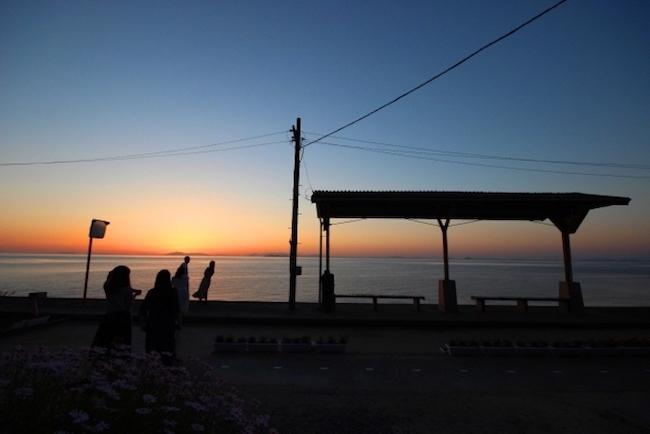 下灘駅 夕日